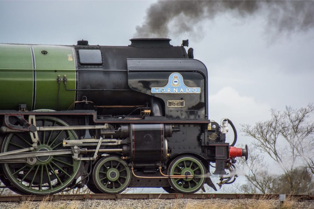 Close up shot of No. 60163 Tornado steam locomotive