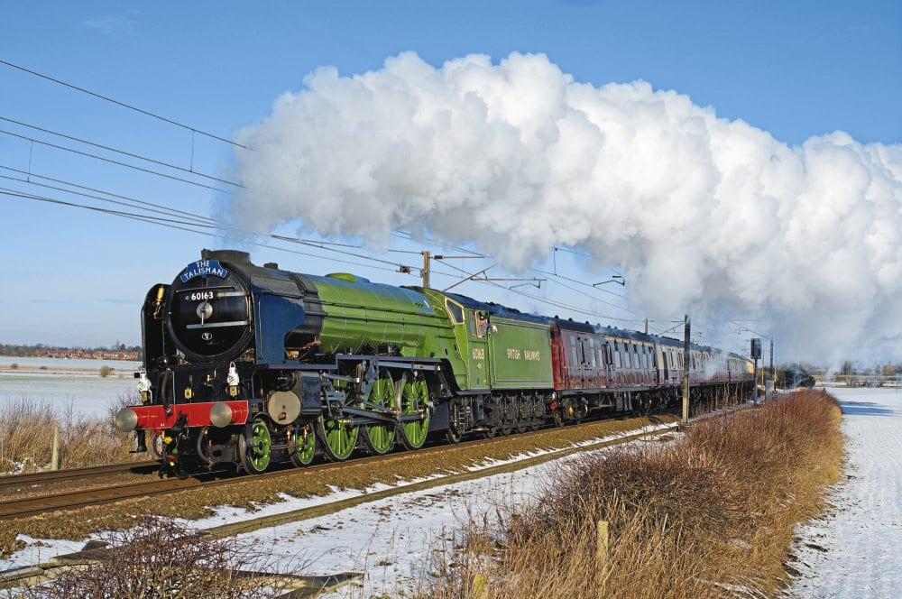 A great shot of the 60163 Tornado in steam on a winter day.