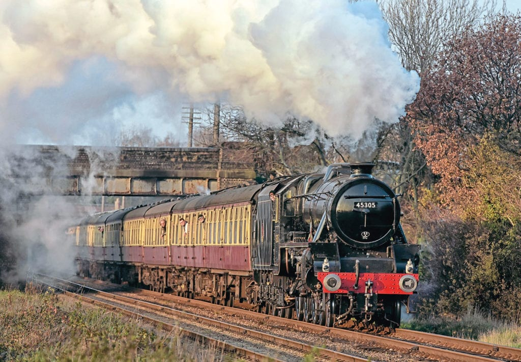 LMS Black 5 No. 45305 'Alderman A E Draper' climbs past Woodthorpe. Photo credit: Graham Nuttall.