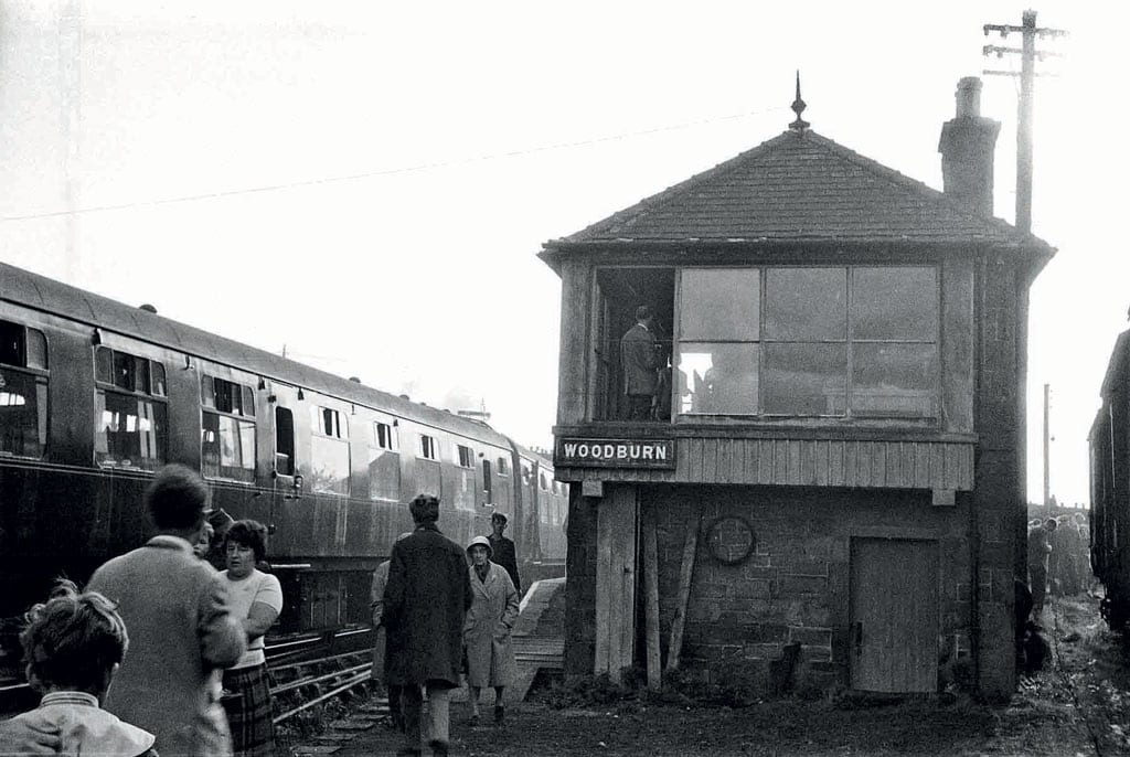 Woodburn signalbox was located at the end of the platform. Passengers from the special train explore the site.