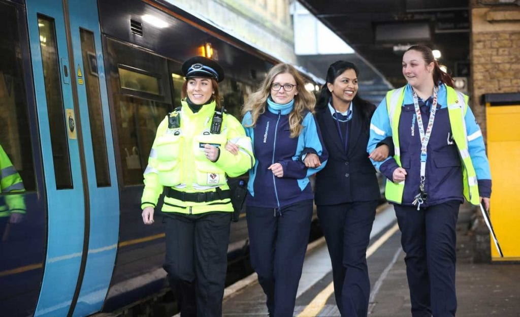 Train driver Monika Kurek (second left) with Southeastern staff, as the train operator and Network Rail launch the first train service run entirely by women, which Monika will drive, to celebrate International Women's Day.