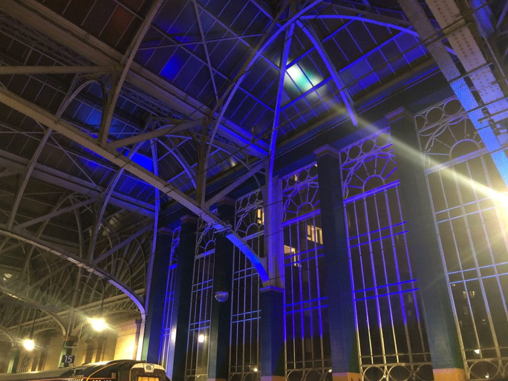 Glasgow Central Station Lit It Blue for our NHS heroes