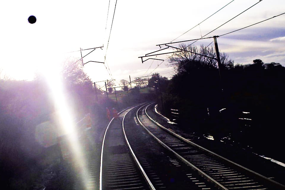 Forward-facing CCTV image from front of train approximately one second before it passed the inspection team (Virgin Trains). This image is affected by bright sunlight and has been enhanced to improve its clarity.