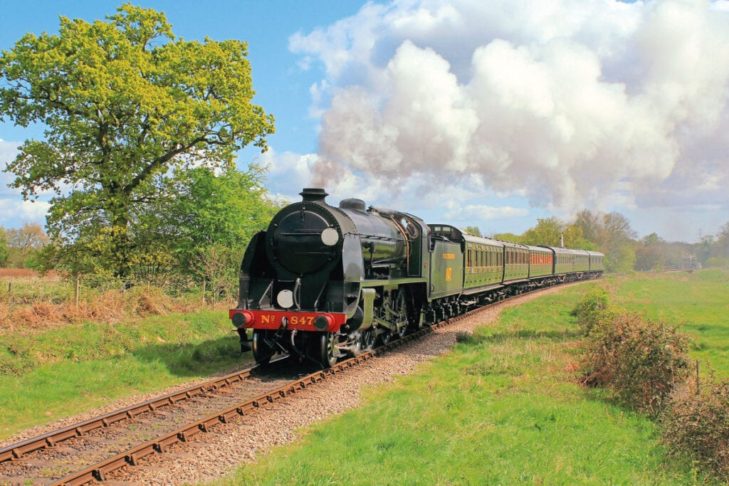 A 21st century epitome of the Southern Railway, a trademark of the Bluebell Railway.