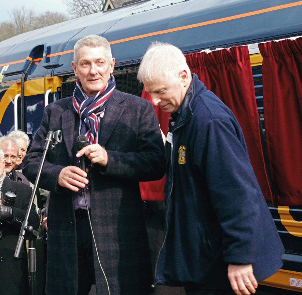 Chris White (left), the infrastructure director who moved mountains to make the East Grinstead possible, with preservation society chairman Roy Watts at the naming of GB Class 66 No. 66739 Bluebell Railway in 2013.