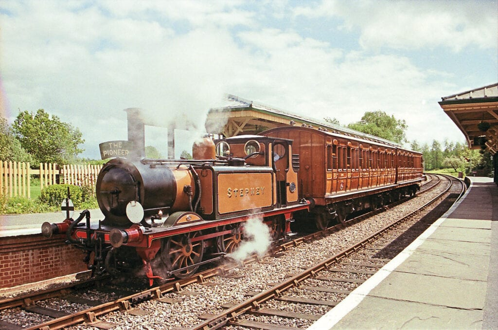 Stepney heads a VIP special at Kingscote in 2000