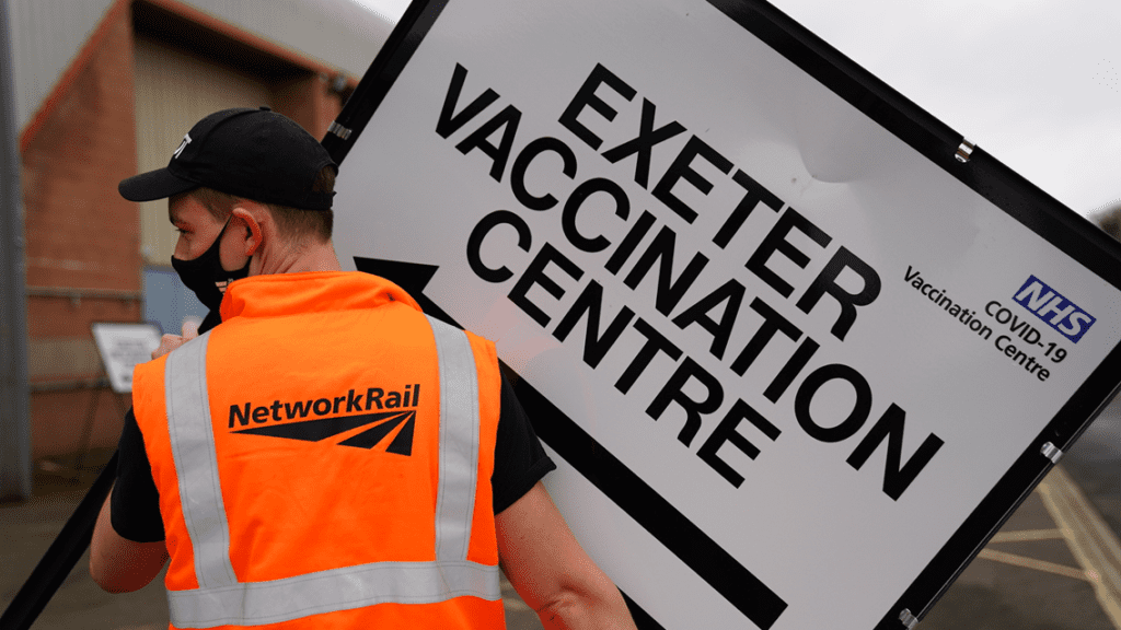 A team of Network Rail workers have played their part in tackling COVID-19 by volunteering to help set up the new large-scale vaccination centre near Exeter, Devon.