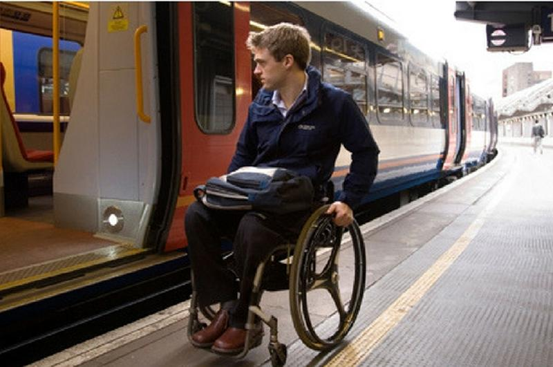Disabled passenger at rail platform